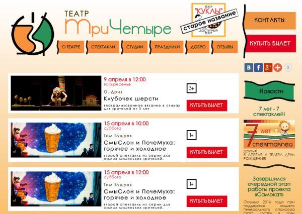 Сайт театра ТриЧетыре
